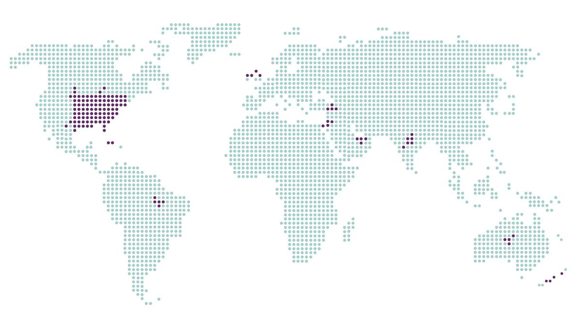 Dotted world map of Build A Dream's impact: Canada, USA, Haiti, India, Turkey, Brazil, UAE, Lebanon, Australia, New Zealand and UK.