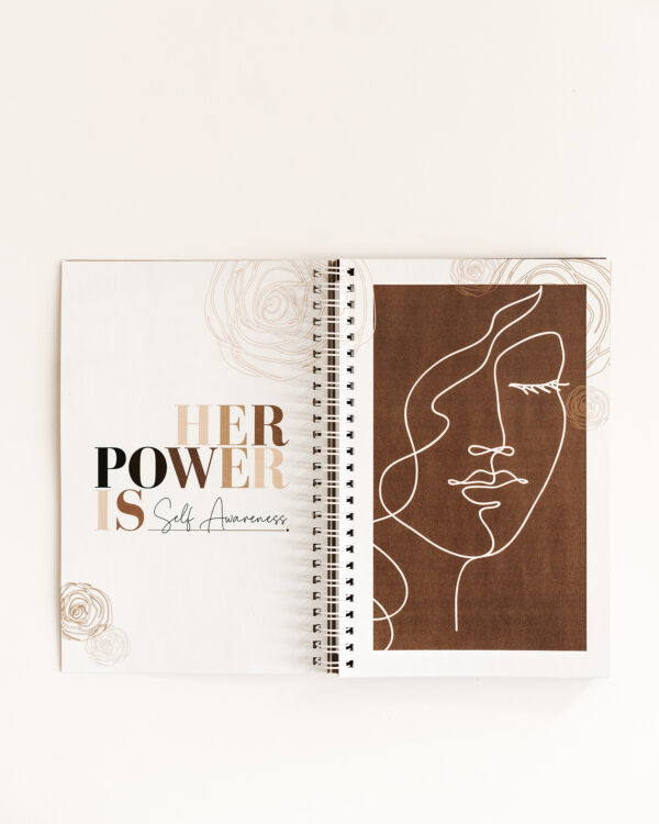 Build a Dream #HerPower Journal - Journey of Self Mastery - open to a page with a face and the statement: Her Power is Self Awareness
