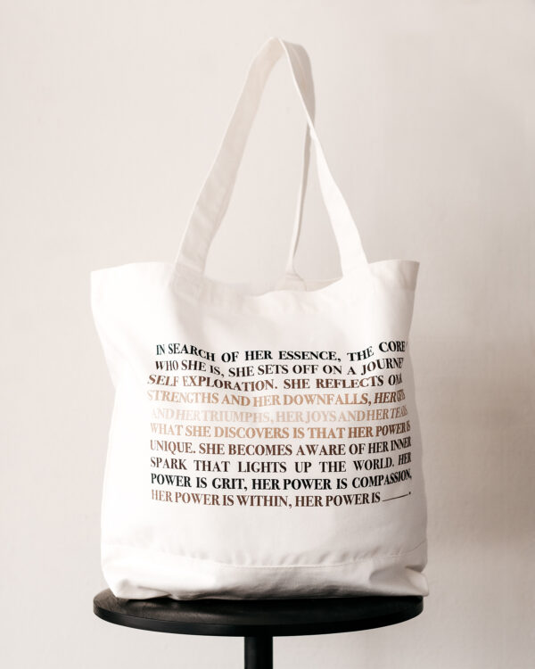 Build a Dream #HerPower Canvas Tote - Backside with manifesto