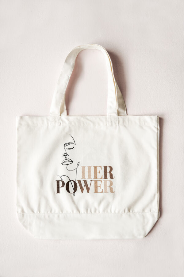 Build a Dream #HerPower Canvas Tote - Flat