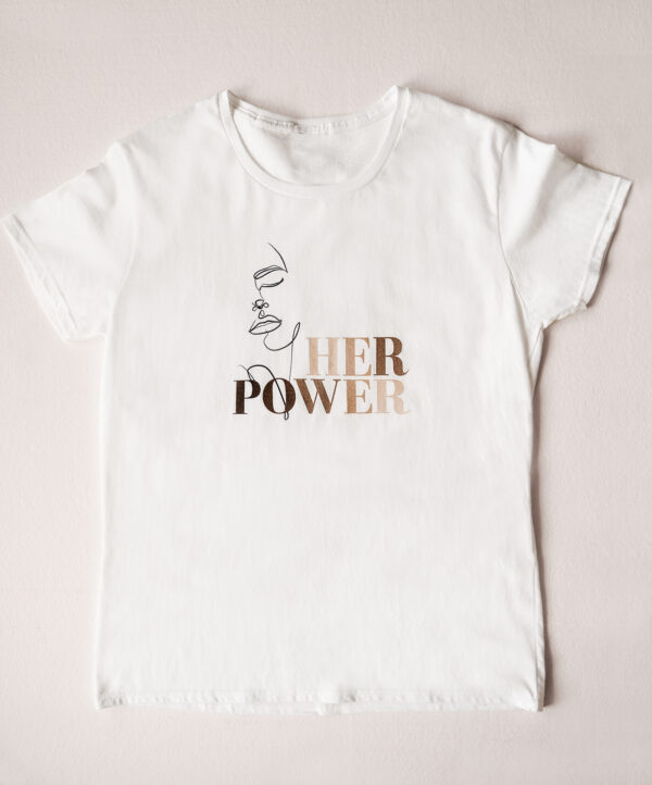 Build a Dream's #HerPower Tee Shirt in White - Flat