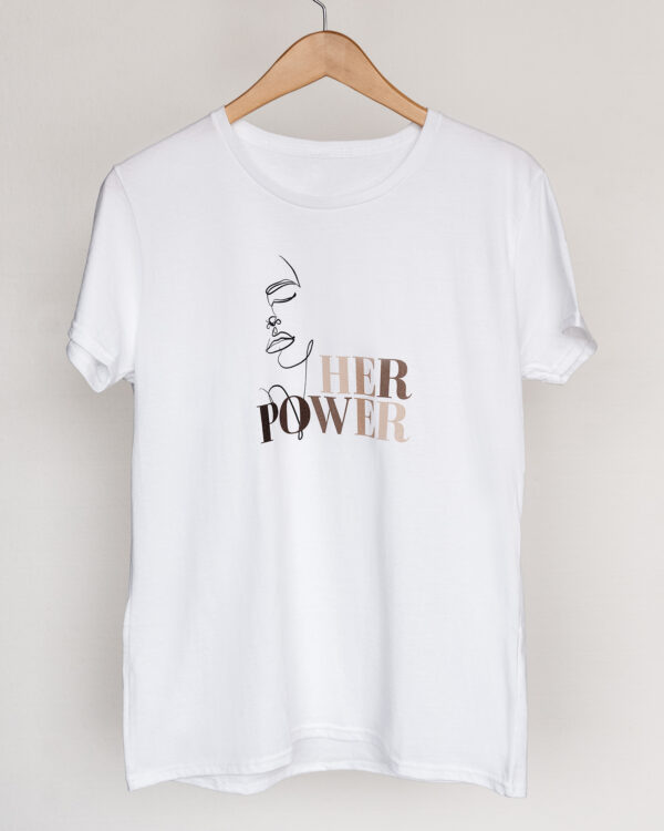Build a Dream's #HerPower Tee Shirt in White - Hanging