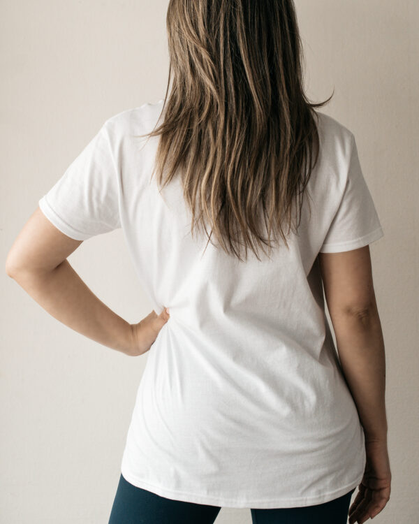 Build a Dream's #HerPower Tee Shirt in White - Rear View
